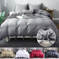 3Pcs Modern Duvet Cover Comforter Set Tie Strap Quilt Cover Twin Queen King Size