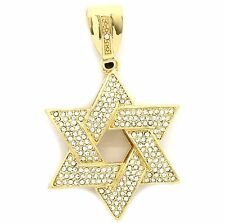 Mens Gold Plated Iced Out Large Star Of David Hip Hop Pendant A71