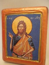 Saint John Prodromos Greek Orthodox Byzantine Rose Gold Christian Icon on Wood