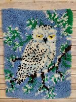 Vintage 80s Retro Snow Owl  Latch Hook Rug Wall Decor Completed 26X20 Handmade