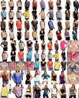 New Wholesale Lot 50 Pcs Mixed Tops Women Blouses Shirts Shorts Bottoms S M L XL