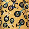 "60"" WIDE  Minkee Me Bicycle Wheels Sunshine Yellow Fabric Minky"
