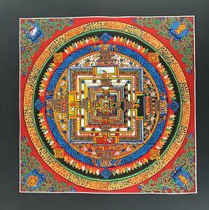 HAND-PAINTED KALACHAKRA MANDALA -THE WHEEL OF LIFE ORIGINAL THANGKA PAINTING