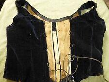 Vintage authentic Victorian 1800's Velvet Corset Bodice Stays Heavy Hooks laceup