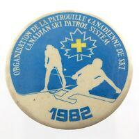 Vintage 1982 Canadian Ski Patrol System Pinback Button L864
