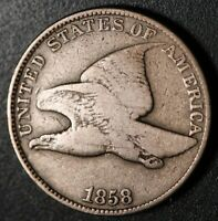1858 FLYING EAGLE CENT - Large Letters LL - Near FINE