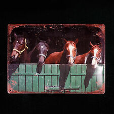 HORSES METAL WALL SIGN PLAQUE COUNTRY FARM DECOR  13 IN. x 10 IN.  NEW