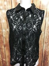 Sheer Lace Faux Leather Trim Sleeveless Shirt Tank Victorian Goth Steampunk L