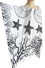 femmes noir/blanc Starfish franges caftan poncho tunique plage grand taille