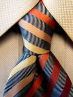 Hugo Boss Blue Striped Silk Tie Made in Italy A4446