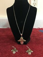 STERLING SILVER TWO TONE ANGEL JEWELRY SET MEXICO 925 (21 Grams)