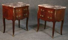 Beautiful Marble Top French Louis XV Inlaid Walnut Nightstands Tables C1930