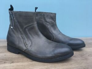 Clarks Mens Leather Boots Grey Uk 7.5 (722)