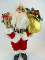 "Christmas 17"" Standing Santa Claus with Teddy Bear & Toy Sack Holiday Figurine"