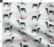 Year Of The Dog Springer Spaniel Dog Flowers Spoonflower Fabric by the Yard