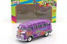 Volkswagen VW T1 Samba Bus Hippie Line Flower Power lila 1:24 Maisto