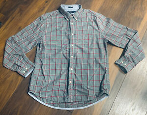 Tommy Hilfiger Men's Plaid  Flannel Shirt Gray & Burgundy L/S Collared Large