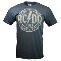 Mens AC/DC 1975 High Voltage Rock & Roll Album Vintage Look T Shirt, Gray