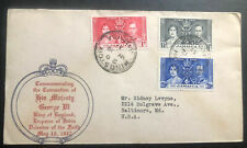 1937 Kingston Jamaica First Day Cover King George VI Coronation KGVI To MD USA