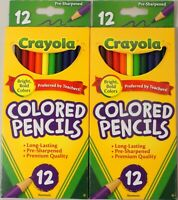 Crayola Colored Pencils 12 Pack Lot Of 2 (2Pack) Nontoxic 24 Total Bright Bold