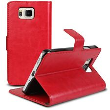 Coque Housse Etui Smart Cover Folio Stand Galaxy Alpha G850 Cuirette Retro Rouge