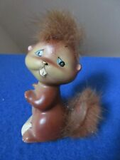 Squirrel or Chipmunk Figurine With Fuzzy Head and Tail Rare Vintage Japan Cerami