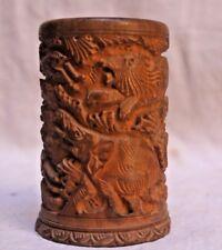 Indian Vintage Hand Carved Wooden Design  Pen / Pencil Stand Holder WO 40