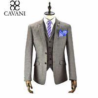 Mens Cavani Designer Tweed 3 Piece Suit Blazer Waistcoat Trousers Sold Separate
