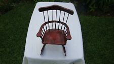 """Vintage Doll Size Wood Rocking Chair Spindle Back 12 1/2"""" Tall"""