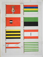 RARE Litho PAVILLON DRAPEAU PAYS BAS NEDERLAND HOLLAND BATEAU NAVY BOAT 1860 e