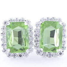 Vintage White Gold Filled Light green Big Square Crystal Clean CZ Stud Earrings