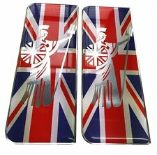 2x Royal Britannia GB Flag Gel Domed Number Plate Decals 107x42mm
