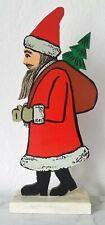 Figura in Legno Rialzo Babbo Natale Santa Claus Decorazione di Natale Natale