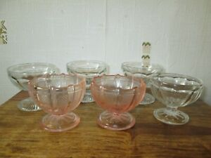 SIX VINTAGE GLASS TRIFLE SUNDAE DESSERT FRUIT PRAWN COCKTAIL DISHES CLEAR PINK