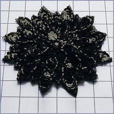 BLACK SEQUIN BEADED FLOWER APPLIQUE  2404-A