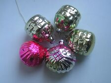 "Vintage Russian Christmas Silver glass ornaments ""5 baskets"""