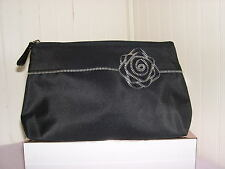 New Lancome BLACK with Zipper Rose Make-Up Cosmetic Bag Purse Case