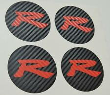 Honda 4 x Carbon Centre Cap Carbon Red R Stickers Decal Civic EP3 Type R K20 JDM