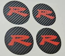 Honda 4 x Carbon Centre Cap Carbon Red R Stickers Decal Civic EP3 Type R K20 JDM