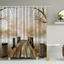 "Waterproof Fabric Shower Curtain Wooden Bridge Fall Season Bathroom  70""*70"""