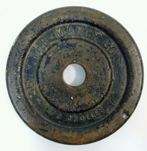 1 Single Rare Vintage Marcy Los Angeles Co Cast Iron 5LB Weight