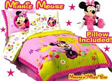 Disney MINNIE MOUSE Girls PiNK YeLLoW 7p Single/TWIN Size Bedding COMFORTER Set