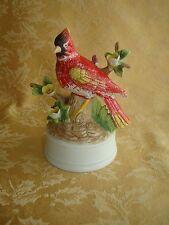 Vintage Milano Porcelain Cardinal Bird Floral By Eda Mann Music Box