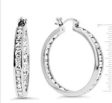 "1"" Inside Out Brilliant Round Cut Diamonique CZ Hoop Earrings AntiTarnish Silver"