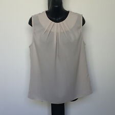 'ASOS' EC SIZE '10' CREAM PLEATED NECK SLEEVELESS TOP WITH BACK KEYHOLE BUTTON