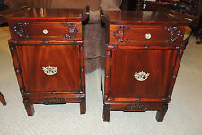 Unique Pair  Chinese Chippendale Solid Mahogany Night Stand end side table