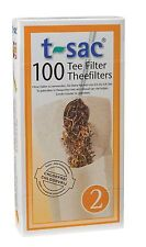 T-Sac Disposable Paper Filter Tea Bags - Size 2 - 100 Bags - Infuser NEW