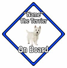 Personalised Dog On Board Car Safety Sign - White Terrier On Board Blue