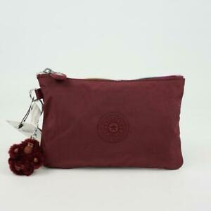 KIPLING VIV Pouch Accessory Bag Cosmetic Case Dark Sangria Red RZ