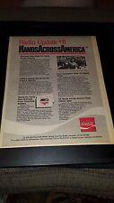Hands Across America Rare Original Radio Promo Poster Ad Framed!